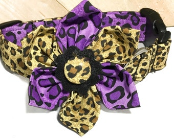 Brown and Purple Leopard Print Flower Collar for Girl Dog or Cat