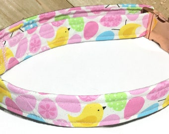 Pink Easter Egg & Chicks Collar for Dogs and Cats With White Buckle / Metal Buckle Upgrade /5 Ft Leash Upgrade