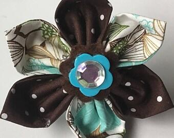 Aqua & Brown Girl Dog Collar Flower