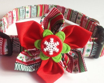 Red, Green, and White Striped Christmas Flower Collar for Dogs and Cats