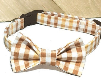 Brown & Gold  Seasonal Fall Checkered Gingham Bow Tie Collar for Male Dogs and Cats in Buckle or Martingale Style