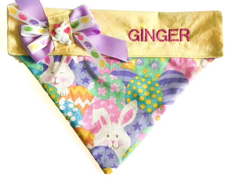 Easter Egg and Easter Bunny Over the Collar Bandana for Dogs image 0