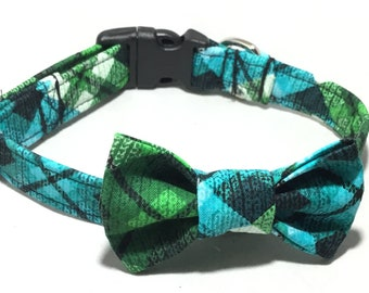 Blue Green & Black Plaid Argyle Collar With Attachable Bow Tie for Male Dog or Cat / Buckled or Martingale / Metal Buckle Upgrade / XXS-XXL