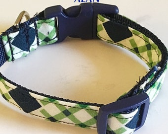 Clearanced Blue & Green Argyle Plaid Male Dog Collar