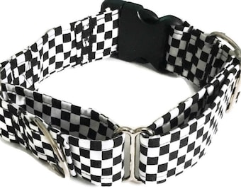 Black and White Checkered Buckled  Martingale Dog Collar/ Matching 5 Ft Leash Upgrade / Flower or Bow Tie Upgrade