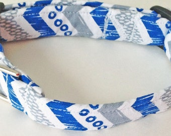 """Small Blue, Gray & White Chevron Collar for Male Dog with 5/8""""W Band"""