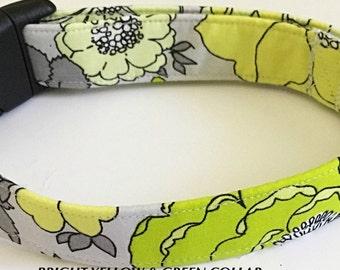 Bright Yellow & Green Premade Summer Collar for Girl Dog