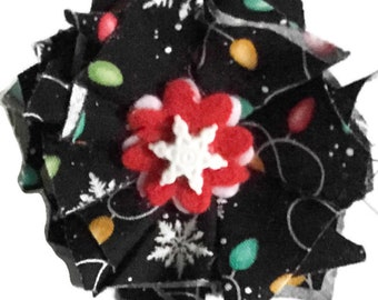 Christmas Lights  Flower for Girl Dog or Cat Collar  / Attachable Christmas Flower / 2.5 Inch to 6 inch Wide Flower