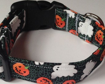 Clearanced Halloween Dog Collar with Ghosts and Pumpkins