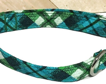Blue & Green Plaid Argyle Collar for Dogs and Cats /Buckled or Martingale /Metal Buckle Upgrade/5 Ft Plaid Leash Upgrade/XXS- XXL