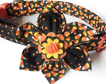 Candy Corn Halloween Flower Collar for Girl Dogs & Cats