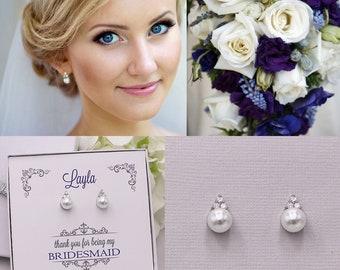 Bridesmaid Earrings, Pearl Stud Earrings, Bridesmaids Gifts, Bridesmaid Jewelry Gift, Triple CZ pearl stud earrings, Madelyn CZ Earrings