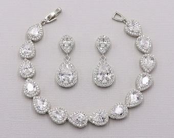 Teardrop Earrings Set, Wedding Bracelet Set, Earrings Bracelet Set, Bridal Jewelry, Jewelry for Bride, Halo Bracelet, Kensley Bracelet Set