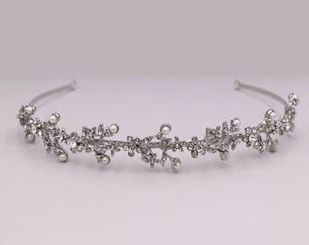 SALE! Rhinestone Crystal Pearl bridal headband, wedding headband, wedding headpiece, rhinestone tiara, Olivia Rhinestone Pearl Headband