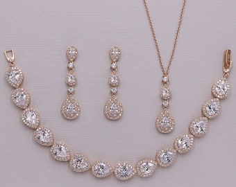 Rose Gold Wedding Jewelry Set 0f494a20ac