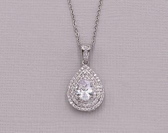 Bridal Pendant Necklace, CZ Pave Framed Necklace, cubic zirconia pendant necklace, wedding jewelry, bridal jewelry, Cameron Necklace