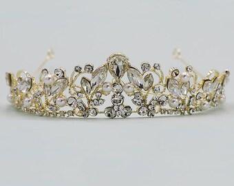 Gold Wedding Tiara, Pearl Bridal tiara headpiece, wedding headpiece, rhinestone tiara, crystal tiara, Caroline Gold Headpiece