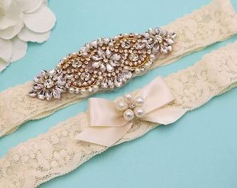 Gold Bridal Garter Set, Gold Wedding Garter Lace, Wedding Toss Garter Set, Lace Rhinestone Garter Set, Rustic Garter Set 447