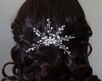 SALE! Pearl Wedding Hairpin, Crystal Bridal Hair Pin, pearl hair pin, pearl rhinestone hairpin, bridal hairpin, Sarah Pearl Hairpin