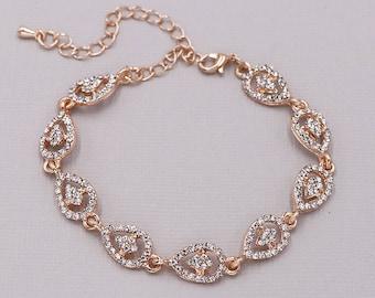 Rhinestone Bridal bracelet Rose Gold, Rose Gold wedding bracelet, rhinestone crystal bracelet, crystal bracelet, Annabel Rose Gold Bracelet