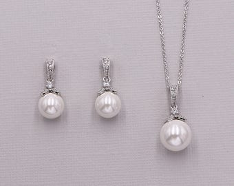 Pearl jewelry set, CZ Pearl Wedding Necklace Set, bridal jewelry, wedding jewelry, cz jewelry set, Kristen Pearl Jewelry Set