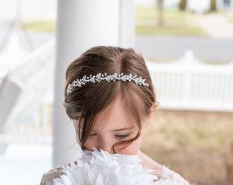 1st Communion Bridal White Flower Girl Wreath Rhinestone Cross Crown Tiara Veil
