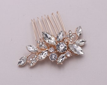 Gold or Rose Gold Bridal Hair Comb Wedding Hair Accessories Rhinestone and Crystal Small Comb in Silver Bianca Pearl