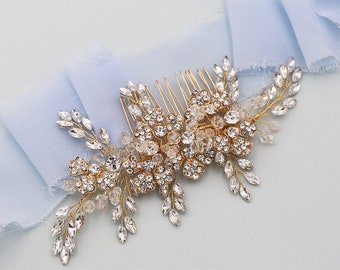 Freshwater Pearl Wedding Comb Gold Hair Comb Hair Comb  HMH0172 Crystal Bridal Hair Comb Floral Wedding Hair Comb Crystal Hair Clip