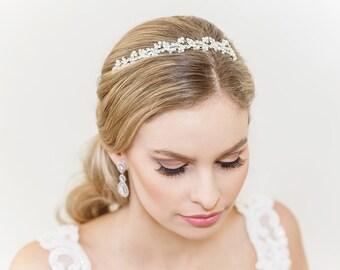 Crystal headpiece Silver headpiece Bridal headpiece Bridal hair accessories Wedding headpiece Pearl tiara Bridal Headpiece with pearls #12