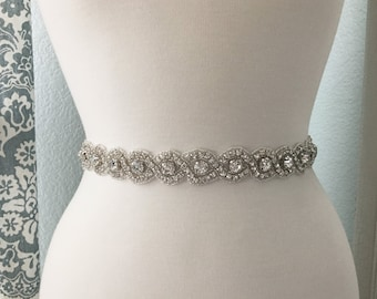 Bridal Sash, Wedding Dress Belt, Rhinestone Bridal Sash, Crystal Sash Belt, Wedding Dress Belt, Bridal Sash Belt 8250