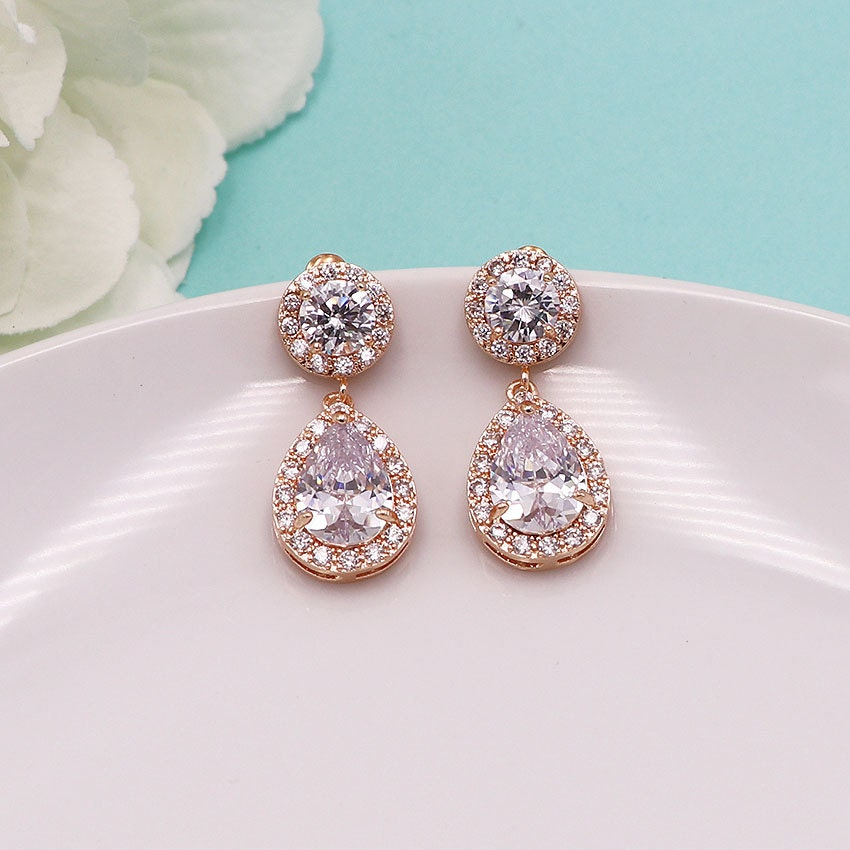 fe038814d Rose Gold Crystal Earrings, round cubic zirconia CZ jewelry, wedding  earrings, bridal jewelry, wedding earrings, Katelyn Rose Gold Earrings