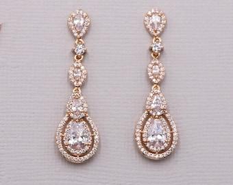 Long Rose Gold Earrings, Teardrop Wedding Earrings Crystal, tear drop pear cubic zirconia earrings, Aimee Rose Gold Earrings