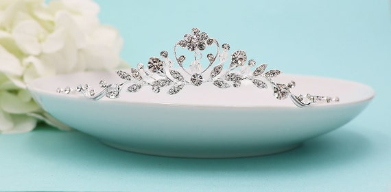 Fille de fleur tiare, diadème en cristal Swarovski, casque, diadème strass, strass, premier diadème de communion, Mara fille fleur tiare de mariage