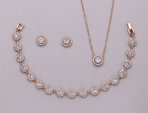 Jewelry Set Rose Gold Jewelry Set For Bridesmaids Rose Gold Etsy