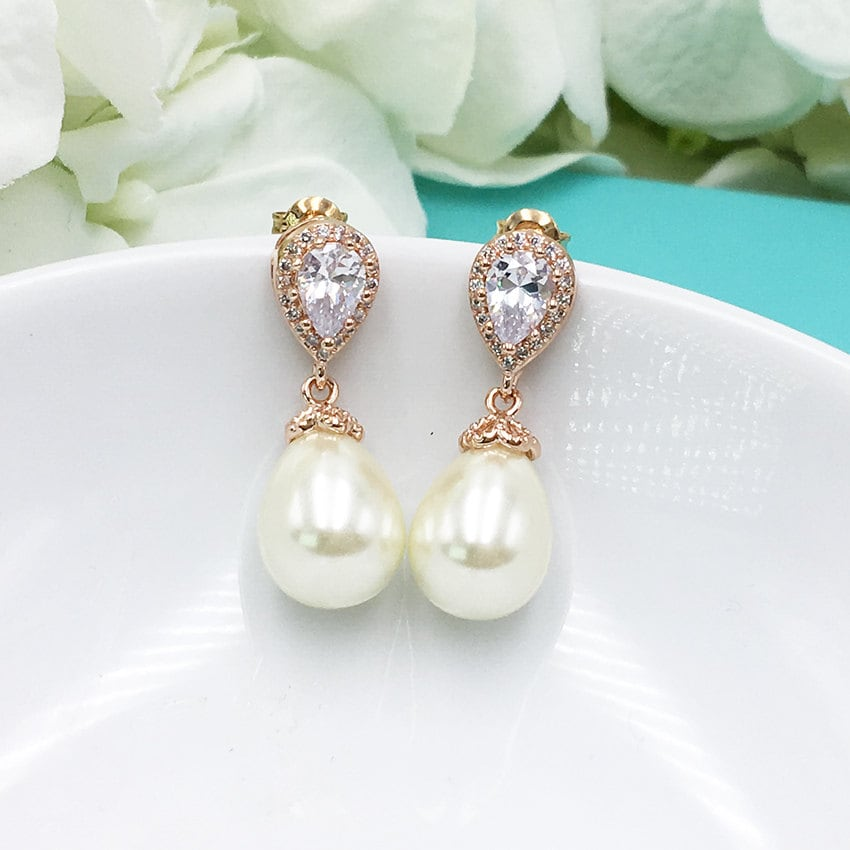 6e27d20c5d140 Pearl Earrings Rose Gold, Wedding Earrings Rose Gold, bridal jewelry ...