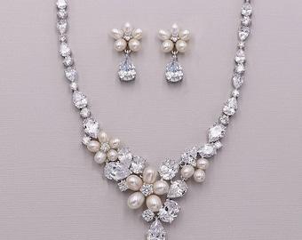 SALE! Freshwater pearl CZ jewelry set, CZ Pearl Wedding Necklace Set, bridal jewelry, pearl jewelry set, Morgan Pearl Jewelry Set