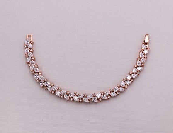 Wedding Bracelet Rose Gold, Bridal Bracelet, cz bracelet, cubic zirconia bracelet, rose gold bridal jewelry, Savannah Rose Gold Bracelet