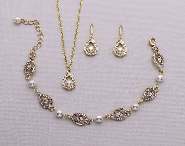 Pearl Bracelet Set Gold, Gold wedding bracelet, rhinestone crystal bracelet, Annabel Gold Pearl Necklace Earrings and Bracelet Set