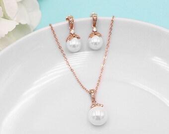 Rose Gold Pearl jewelry set, CZ Pearl Wedding Necklace Set, bridal jewelry, cz jewelry set, Kristen Rose Gold Pearl Jewelry Set