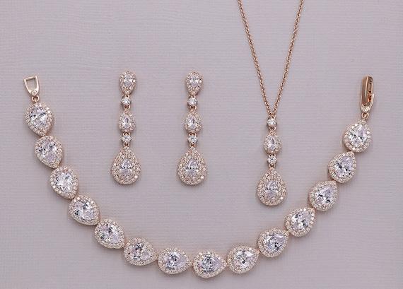 Rose Gold Wedding Jewelry Set Rose Gold Necklace Set Cubic Etsy