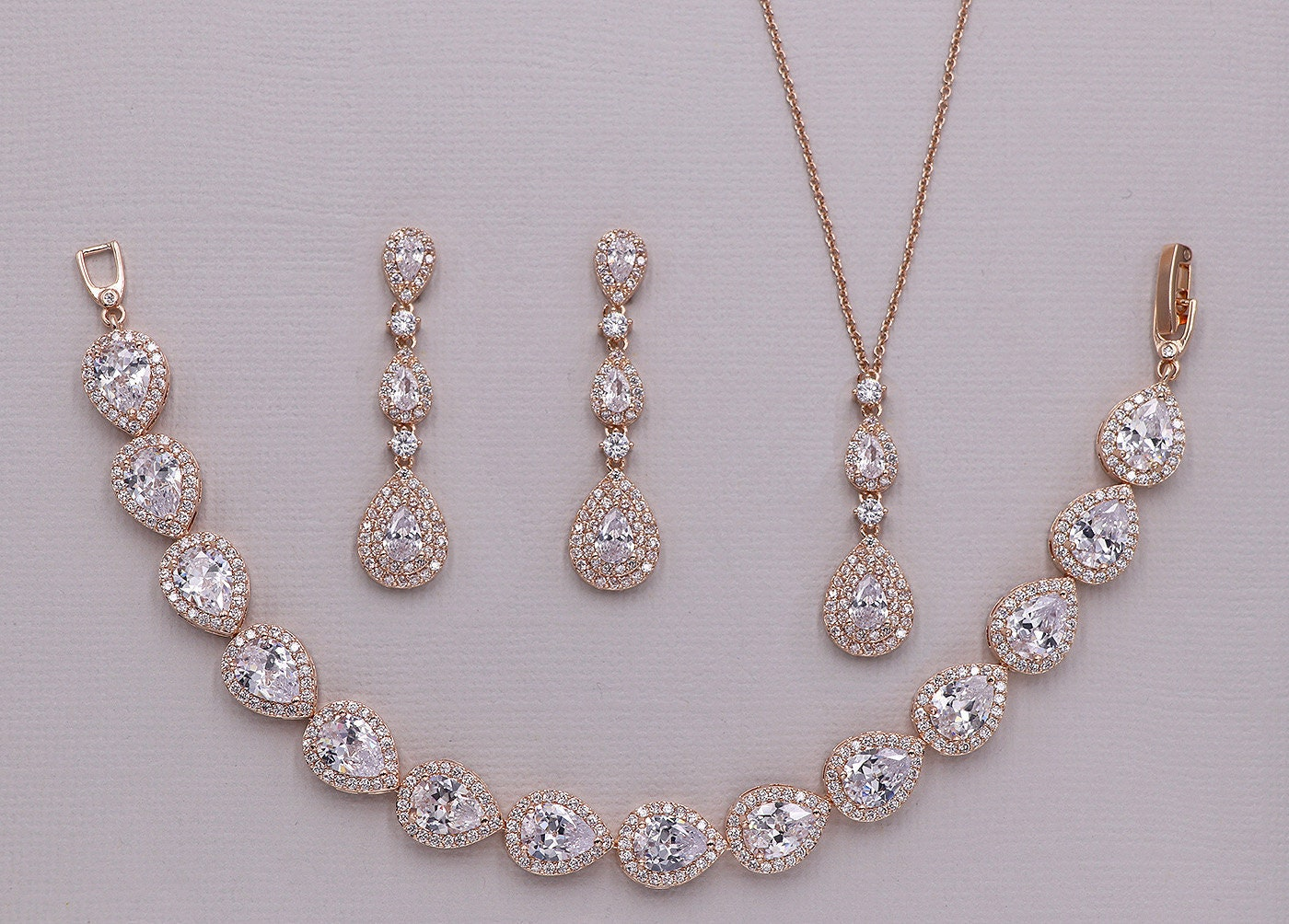 Jewelry & Watches Jewelry Sets Rose gold Jewellery set with gold colour cubic zirconias quality UK jewellery