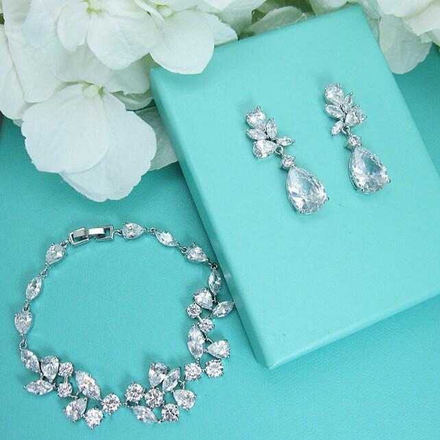 Bridal bracelet set, wedding earrings bracelet set, cz bracelet, cubic zirconia bracelet, bridal jewelry, Natalia Bracelet Set