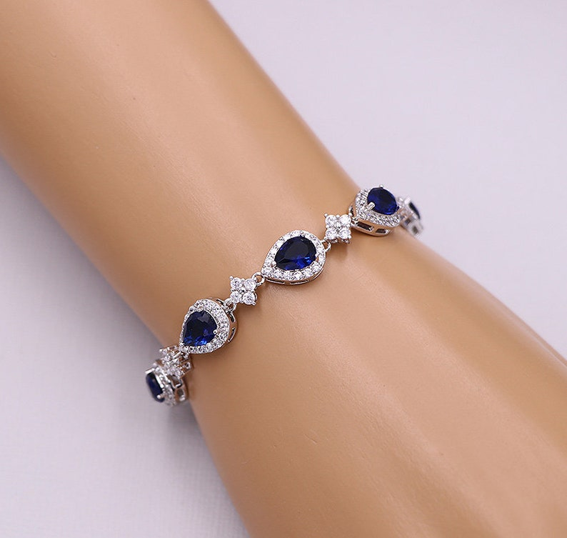 Blue Crystal Jewelry Set Bridal Earrings Sapphire Kensley Sapphire Blue Earrings and Necklace Set Blue Jewelry Set