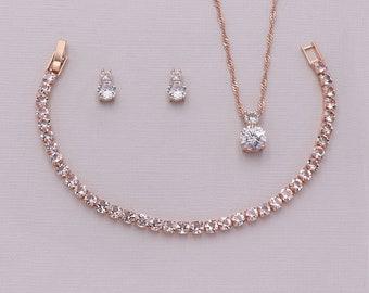 Rose Gold Wedding Jewelry Set, cubic zirconia earrings, bridal jewelry, wedding earrings, Petite Round Rose Gold Jewelry Set