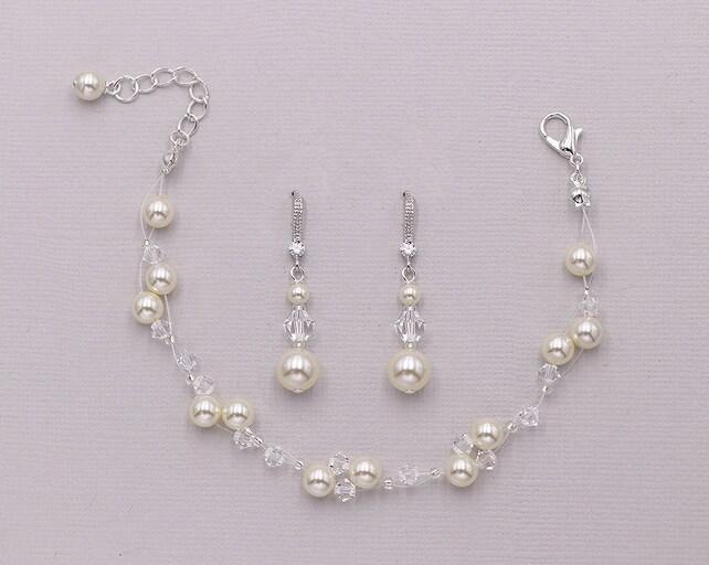 Swarovski Crystal Pearl Bracelet Jewelry Set, Pearl Wedding Bracelet Set, Bridesmaid Jewelry Gift, Simone Swarovski Crystal Bracelet Set