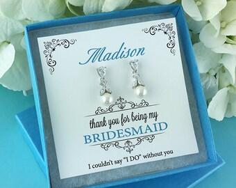Bridesmaid Pearl Earrings, Sparkle cz earrings, pearl bridesmaid earrings gift , Bridesmaid earrings, Kathy Bridesmaids Earrings