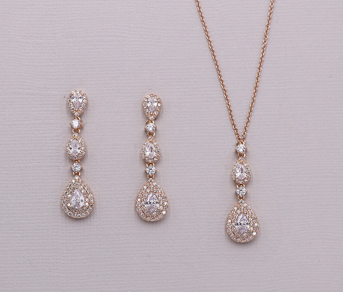 Rose Gold Wedding Jewelry Set Rose Gold Necklace Set Cubic