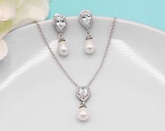 Pearl Jewelry Set, CZ Pearl Wedding Necklace Set, bridal jewelry, wedding jewelry, cz necklace set, Lauren Pearl Jewelry Set