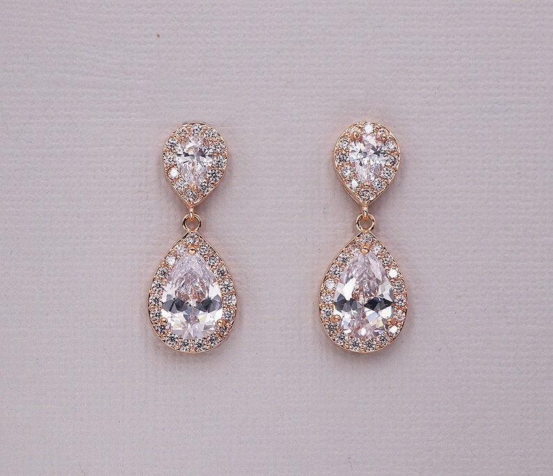 Rose Gold Bridal Earrings rose gold cz earrings cubic  1b7481d730