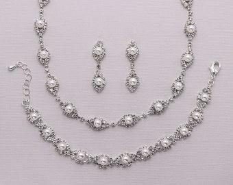 Pearl Wedding Jewelry Set, Rhinestone pearl necklace set, crystal ivory white pearl jewelry set, bridal jewelry, Becca Pearl Jewelry Set